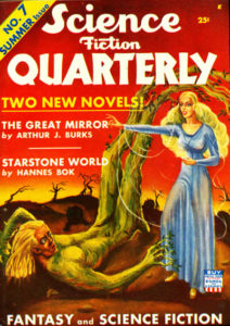 Science Fiction Quarterly cover. Shows man turning into a tree and a woman who appears to be causing it.