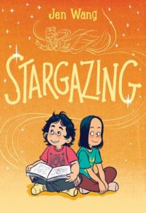 Stargazing by Jen Wang book cover. image on cover is of two cartoon children looking up at the stars. One of them is holding an opened book.