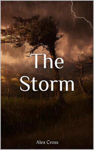 The Storm by Alex Cross book cover. Image on cover shows lightning and wind near a grove a trees during a violent thunderstorms.