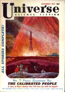 Universe Science Fiction cover from 1953. Image on cover shows small group of people watching a rocket ship take off.