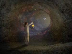 woman wearing a white nightie holding a lantern as she walks through a wormhole. There is a space ship flying through from the other side of the worm hole.