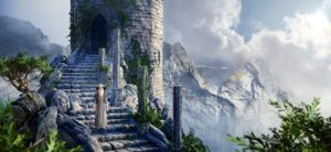 A wizard walking down stone steps in an abandoned stone castle covered in vines that's next to a massive mountaing range.