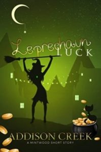 Leprechaun Luck: A Witch of Mintwood Short Story by Addison Creek book cover. Image on cover shows silhouette of a witch holding a broom over her head. She's standing outside by a village and the moon is shining down on her at night.