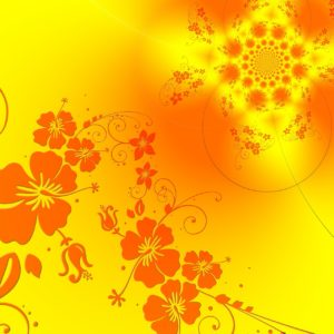 An orange and yellow floral design.