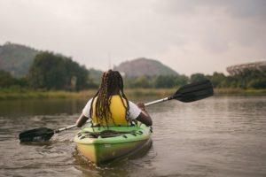 Person going kayacking in Nigeria.