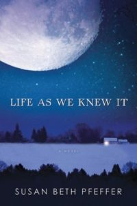 Life As We Knew It (Last Survivors, #1) by Susan Beth Pfeffer book cover. Image on cover is of a large full moon looming over a house at the edge of a lake at night.