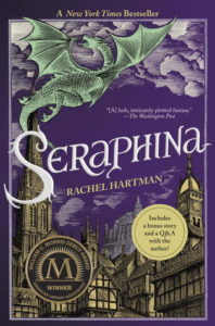 Seraphina (Seraphina, #1) by Rachel Hartman book cover. Image on cover is a drawing of a green dragon flying over a medieval city at night.