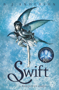 Swift (Swift, #1) by R.J. Anderson book cover. Image on cover is a drawing of a blue fairy flying.