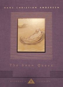 The Snow Queen by Hans Christian Andersen book cover. Image on cover shows a drawing of a gold boat holding a baby floating on a body of water.