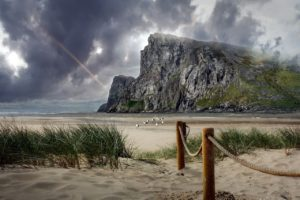 A large mountain next to a sandy beach. there is a rainbow in the dark sky above and seagulls looking for food where the tide has gone out