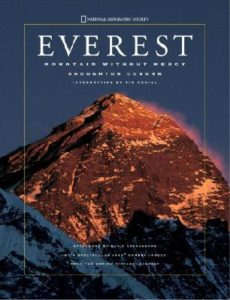Everest- Mountain without Mercy by Broughton Coburn book cover. Image on cover shows sun setting on Mount Everest.