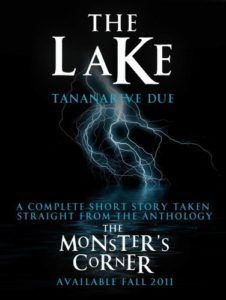 The Lake by Tananarive Duebook cover. Image on cover is of lightning striking a lake in the middle of the night.