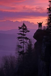 Two people hugging sideways as they stand on the side of a cliff at sunset and look at the peaceful forest below them.