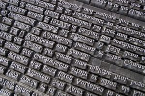 Close-up photo of typhography and typecases