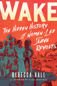 Wake- The Hidden History of Women-Led Slave Revolts by Rebecca Hall book cover. Image on cover is a drawing of eight slaves standing on a hill as they watch a city begin to burn.