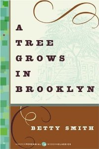 A Tree Grows in Brooklyn by Betty Smith book cover. Imge on cover is a drawing of a large tree by a wooden house.