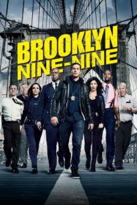 Brooklyn Nine-Nine film poster. It shows the eight main characters walking on the brooklyn bridge.