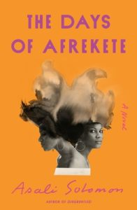 The Days of Afrekete by Asali Solomon book cover. Image on cover is two african women standing facing apart. Their hair has been styles to resemble the continent of Africa.