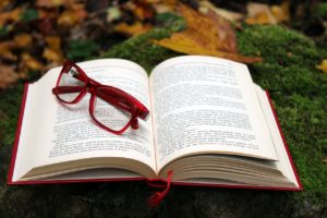 A red pair of glasses sitting on top of an opened book. The book has a red cover and is sitting on a pile of moss and autumn leaves.
