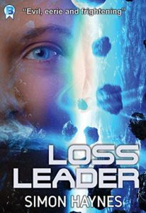 Loss Leader by Simon Haynes book cover. Image on cover shows a woman's face superimposed on space rocks orbiting a planet.